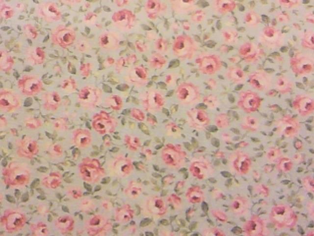 水色地小バラ柄の布地