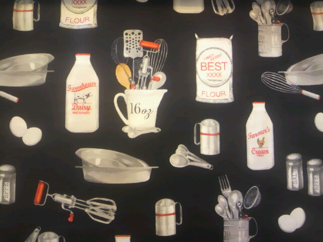 キッチンツール柄の布地