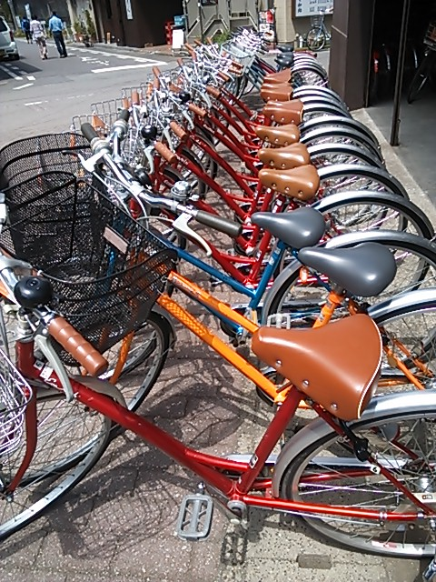 自転車柄の布地