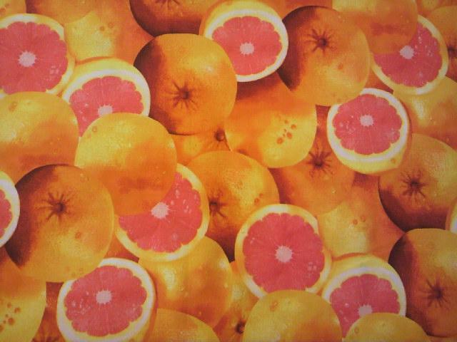 グレープフルーツ柄の布地