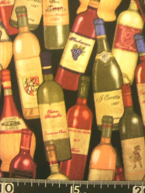 ワインボトル柄の布地