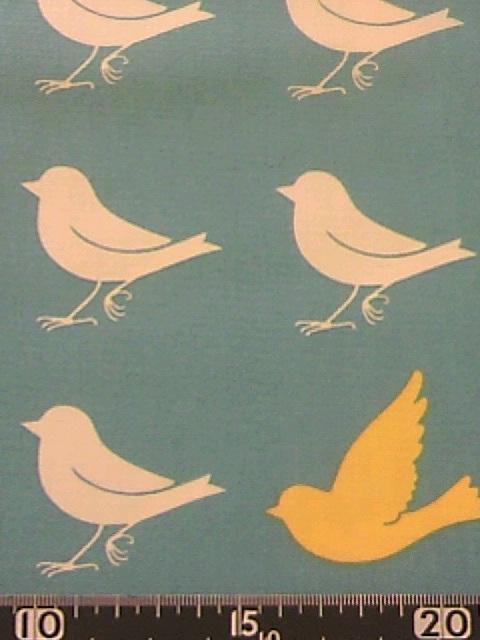 水色小鳥柄の布地
