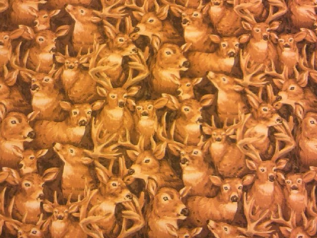 鹿だらけ柄の布地