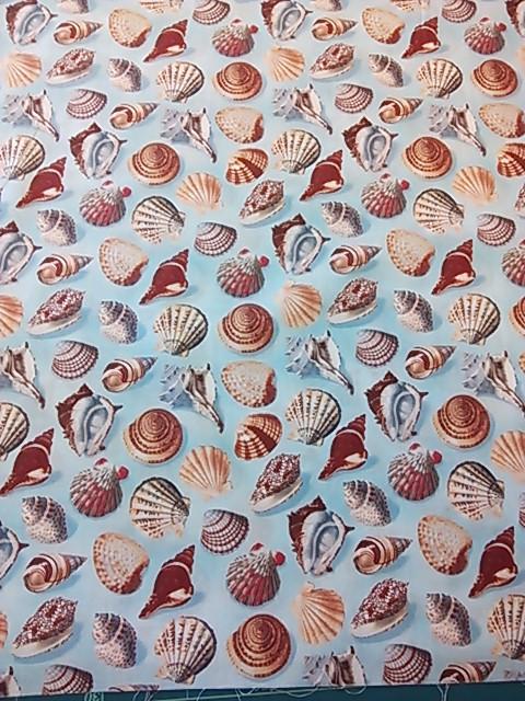 貝殻柄の布地