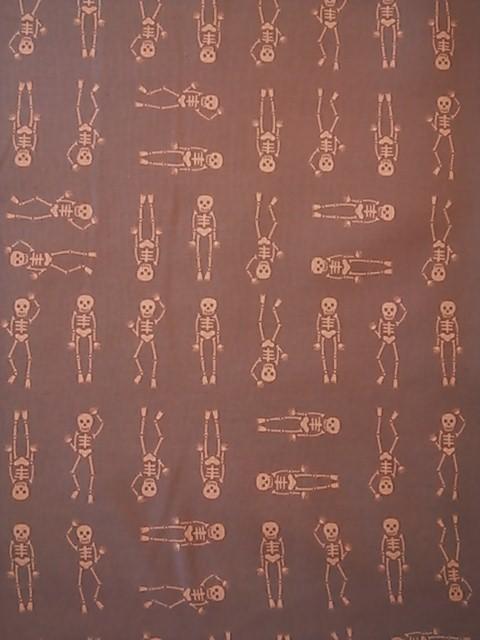 骸骨柄の布地