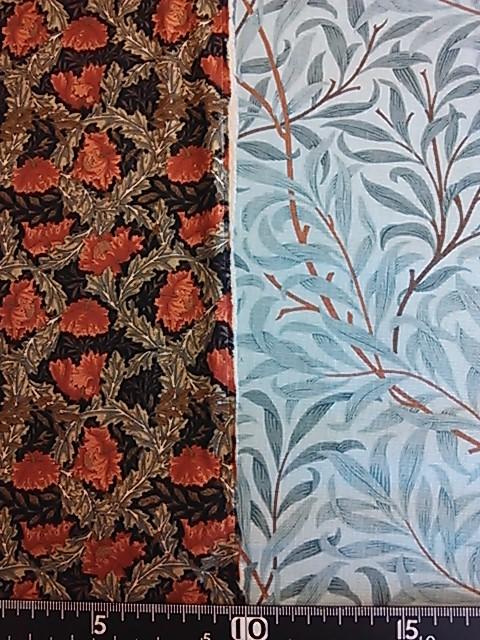 ウィリアム・モリスの花柄と柳の枝柄の布地