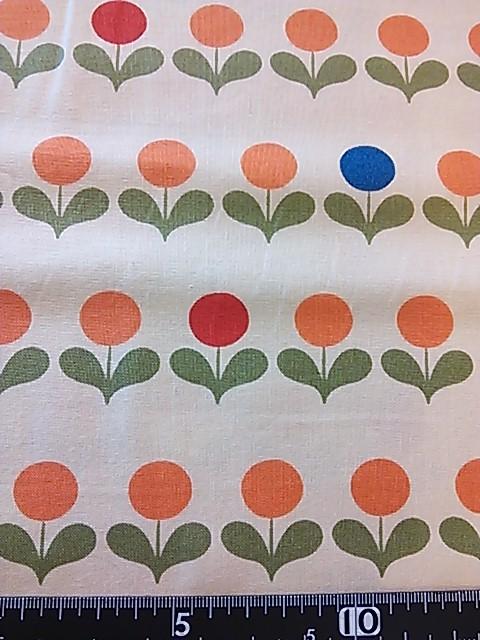 丸い花柄の布地