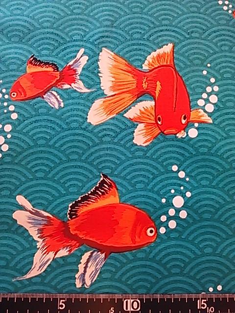 金魚柄の布地