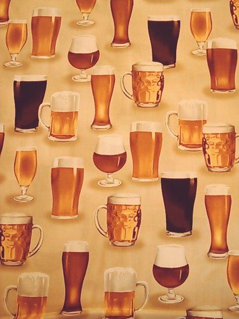 ビール柄の布地