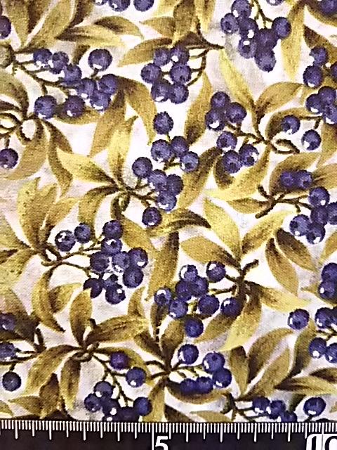 ブルーベリー柄の布地