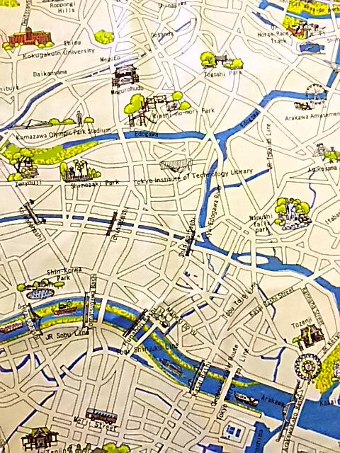 東京の地図っぽい柄の布地