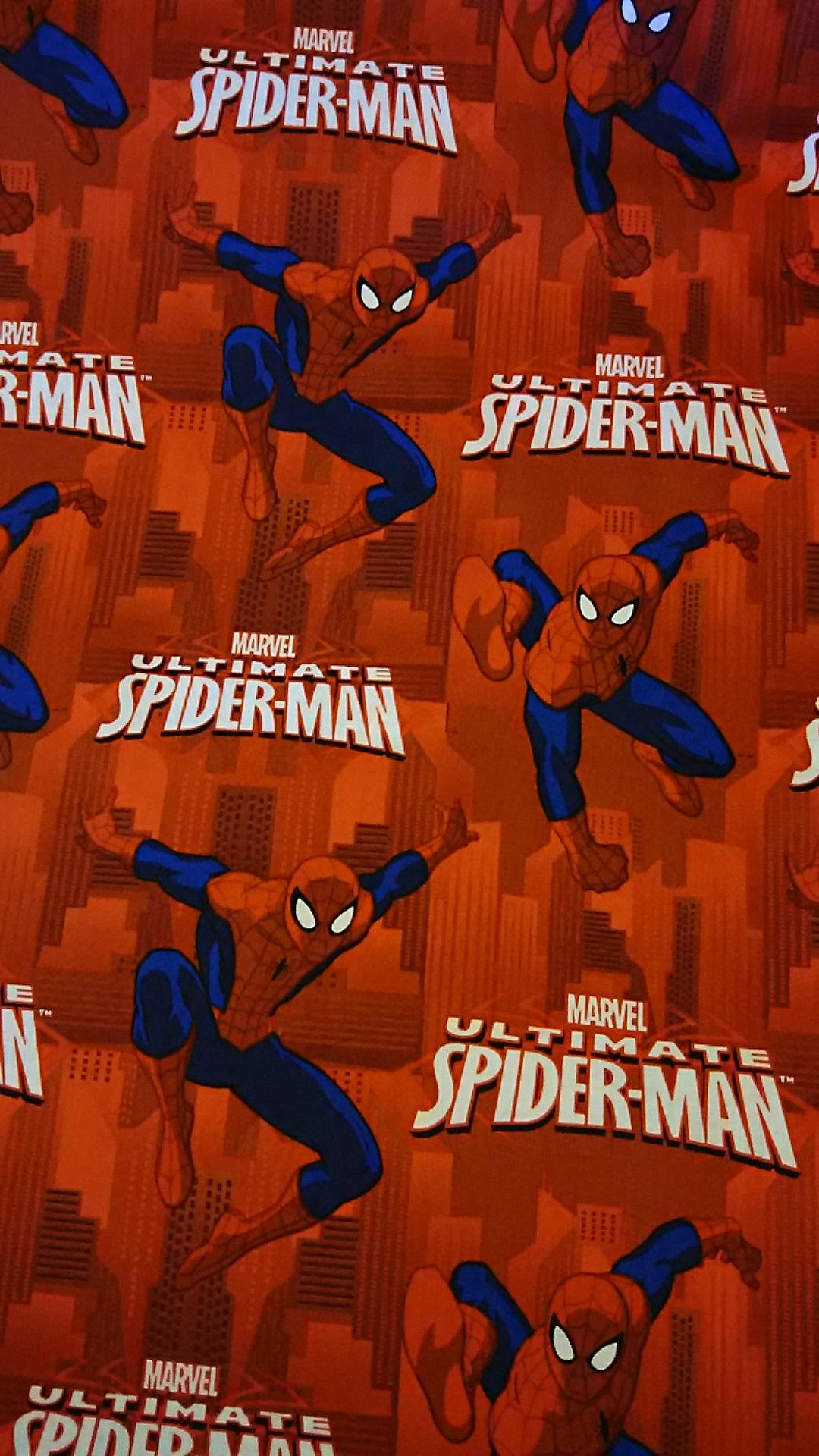 スパイダーマン柄の布地