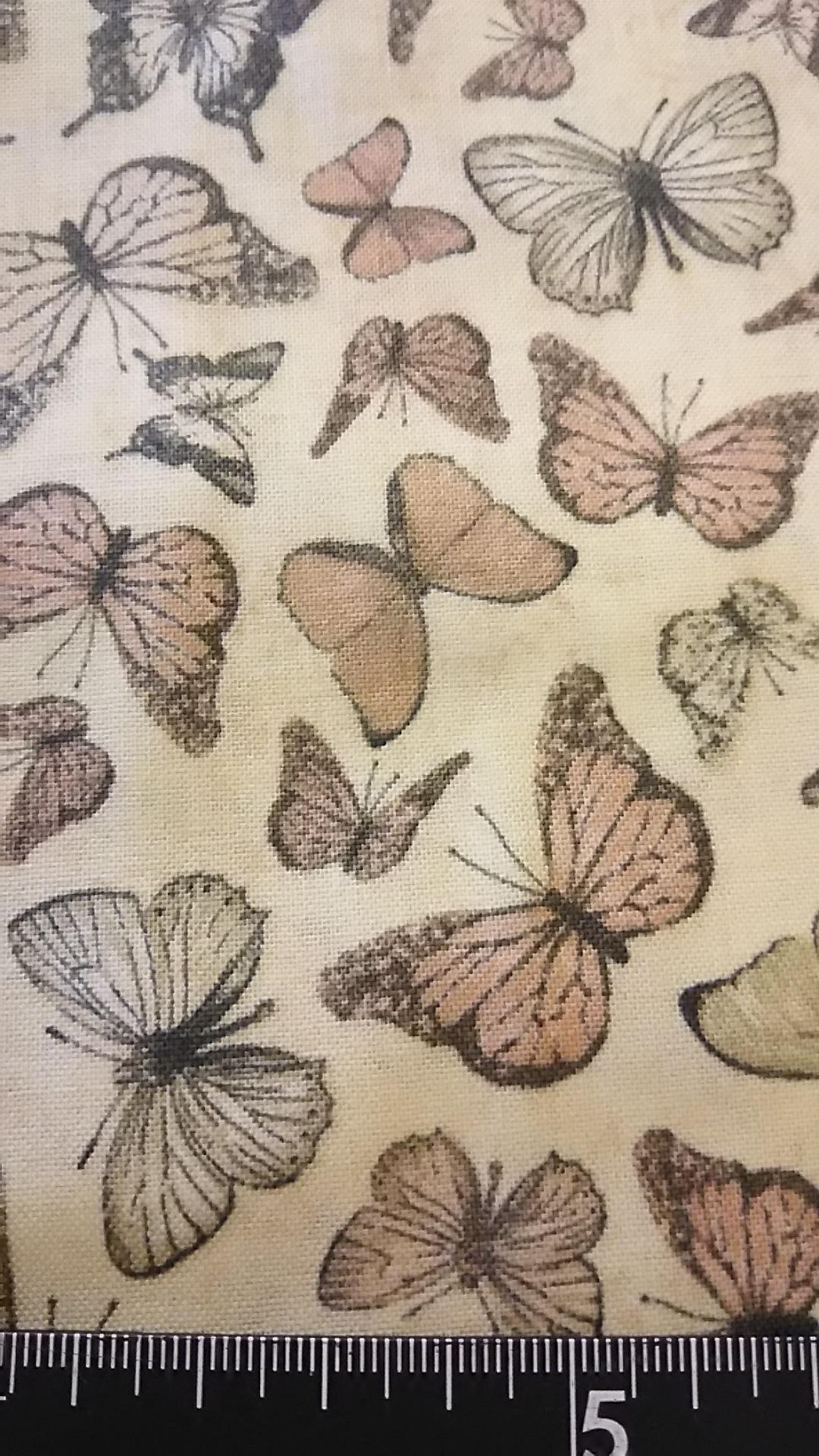 アンティーク風チョウ柄の布地